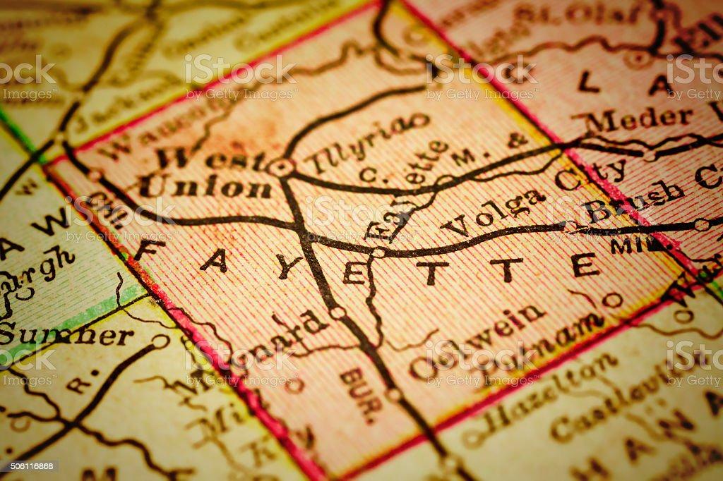 Fayette Iowa Map.Fayette Iowa County Maps Stock Photo Istock