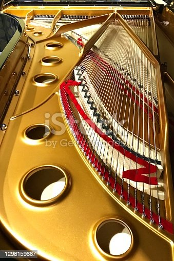 Grand Piano inside strings and cast iron plate