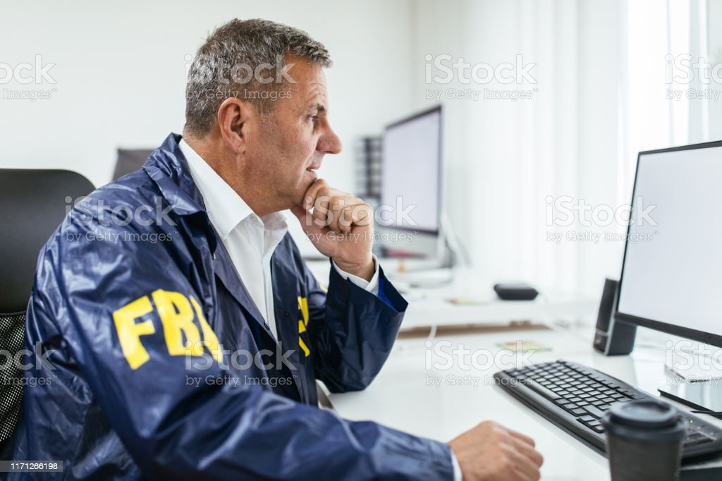 fbi-agent-using-computer-in-office-picture-id1171266198