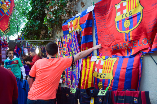 Fc Barcelona Shop Stock Photo - Download Image Now