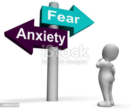 Fear Anxiety Signpost Showing Fears And Panic