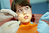 Face frightened girl during dental checkup