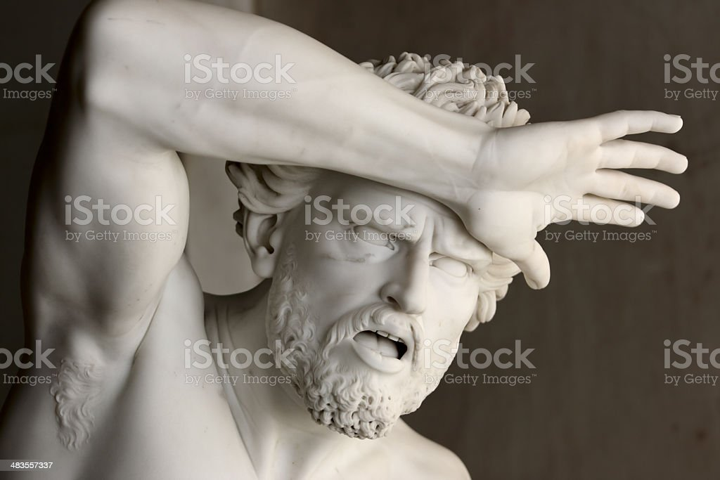 Fear (statue of shocked man protecting his head with hand) stock photo