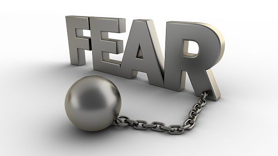 istock Fear text with chain and shackles isolated on a white background. 3D-rendering. 1209736706