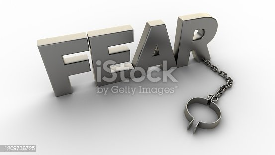 Fear text with chain and weight isolated on a white background. 3D-rendering.