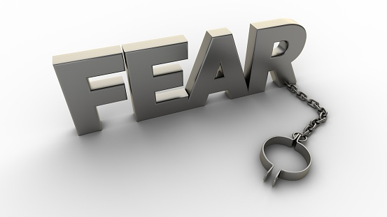 istock Fear text with chain and shackles isolated on a white background. 3D-rendering. 1209736725