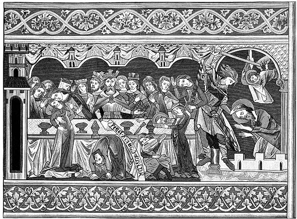 feast of herod woodblock print - woodcut stock photos and pictures