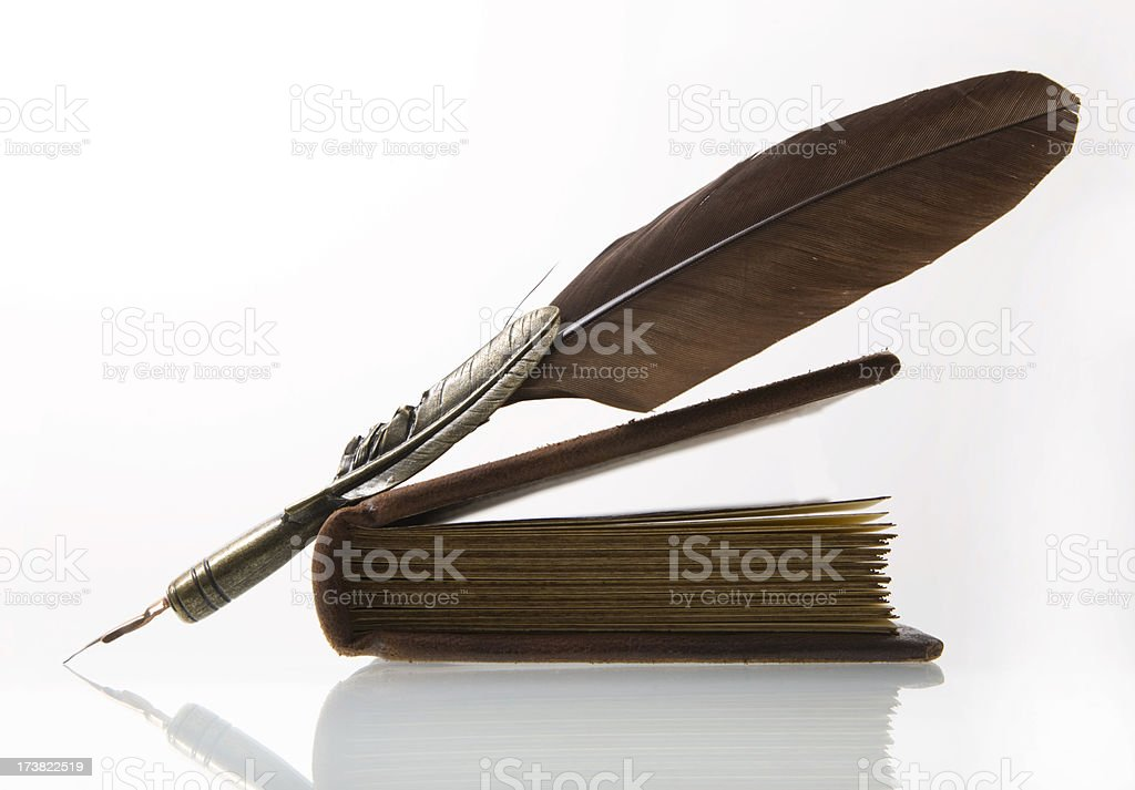 Feather and Book XL stock photo
