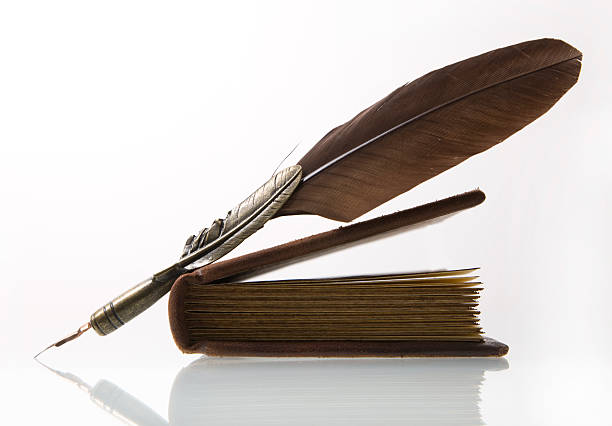 feather and book xl - quill stock photos and pictures