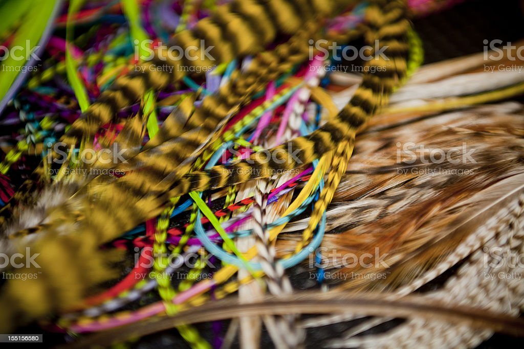 Feather hair accessories close up royalty-free stock photo