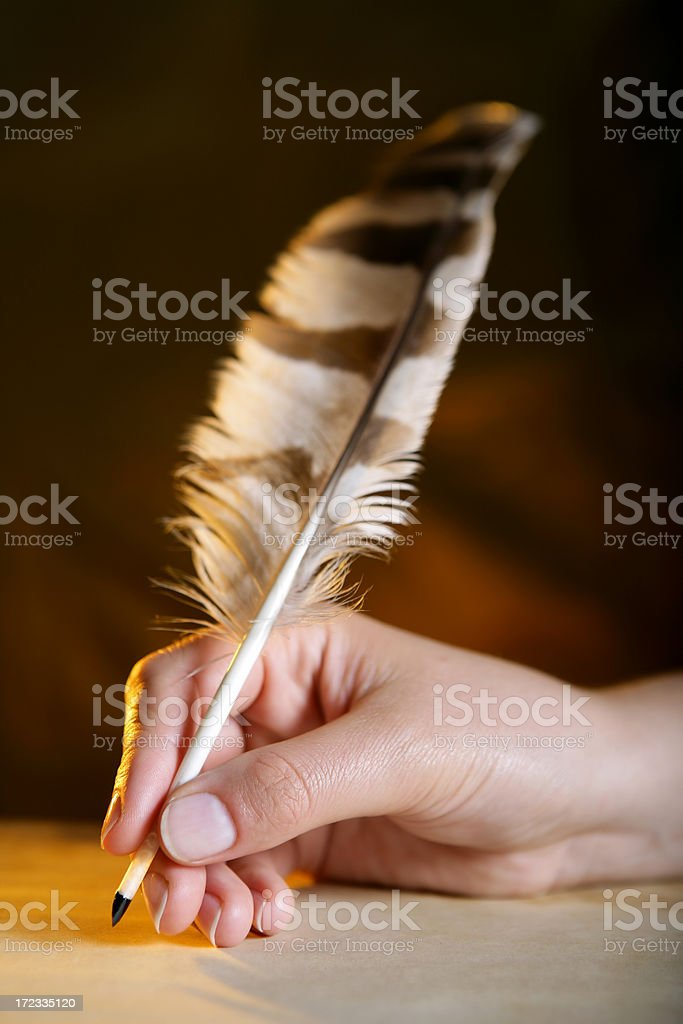Feather pen in a hand royalty-free stock photo