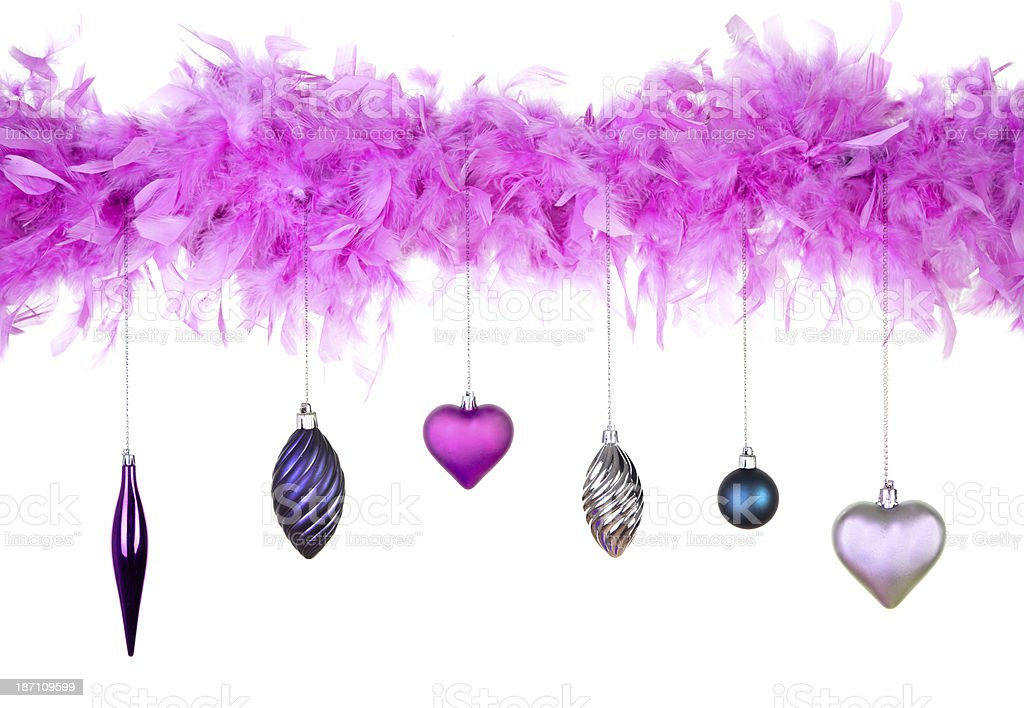 feather with christmas decoration stock photo