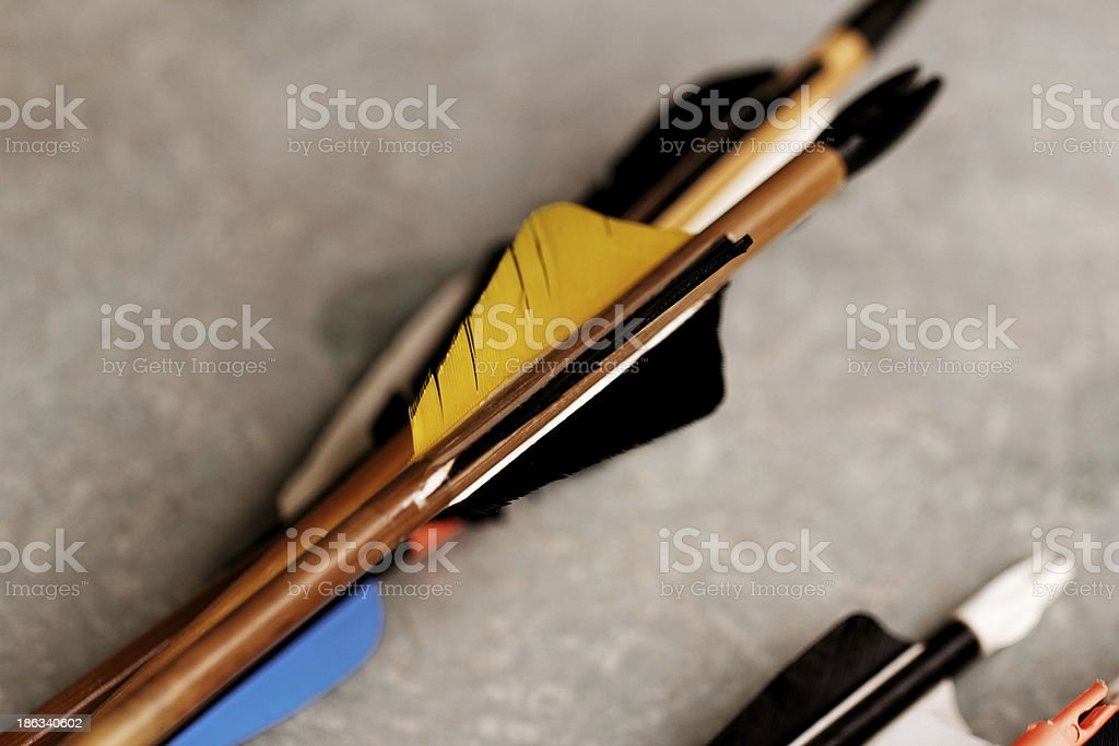 feathered end of arrows royalty-free stock photo
