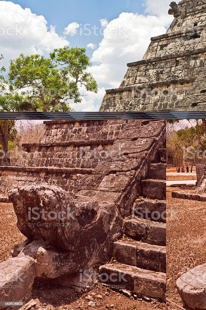 Feathered Serpent, Chichen Itza royalty-free stock photo