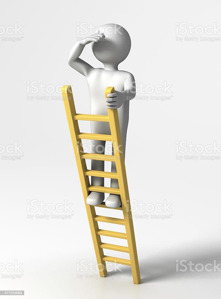 Featureless man on a yellow ladder looking ahead on white stock featureless man on a yellow ladder looking ahead on white royalty free stock photo thecheapjerseys Gallery