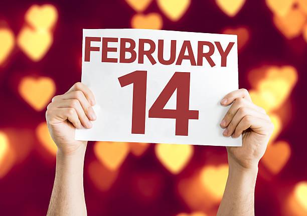 14. februar-karte mit herzen bokeh hintergrund - sprüche kalender stock-fotos und bilder