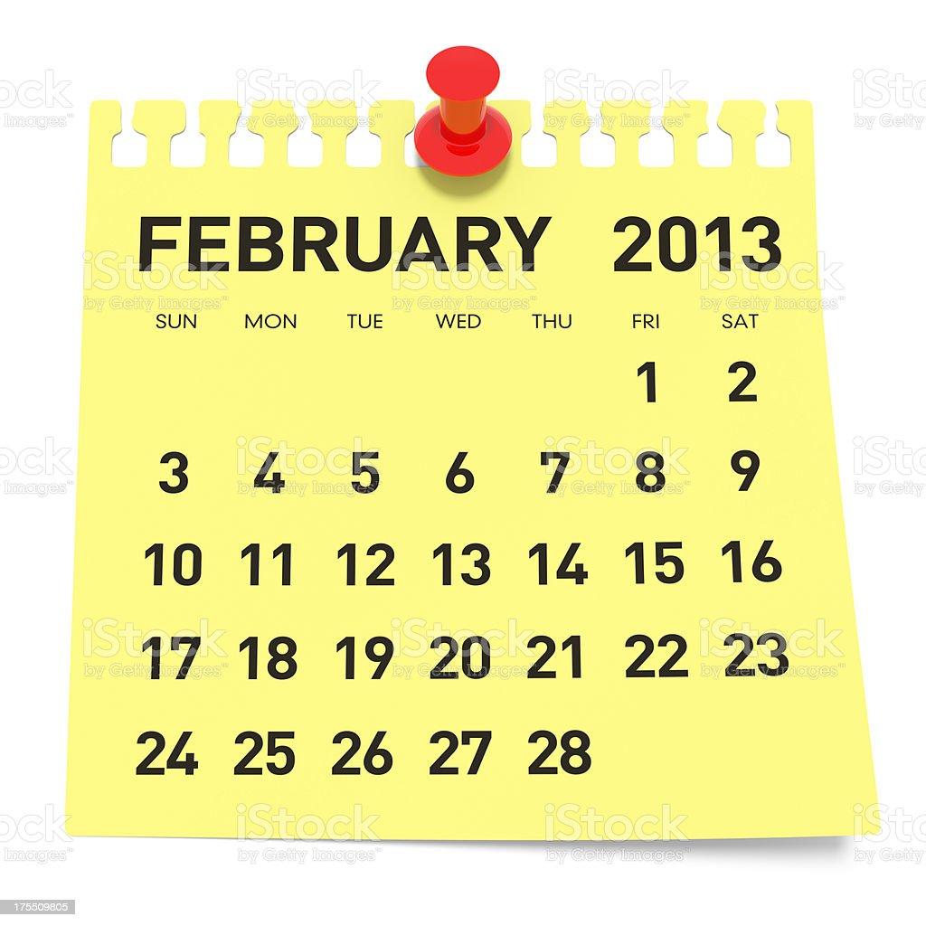 February 2013 - Calendar royalty-free stock photo