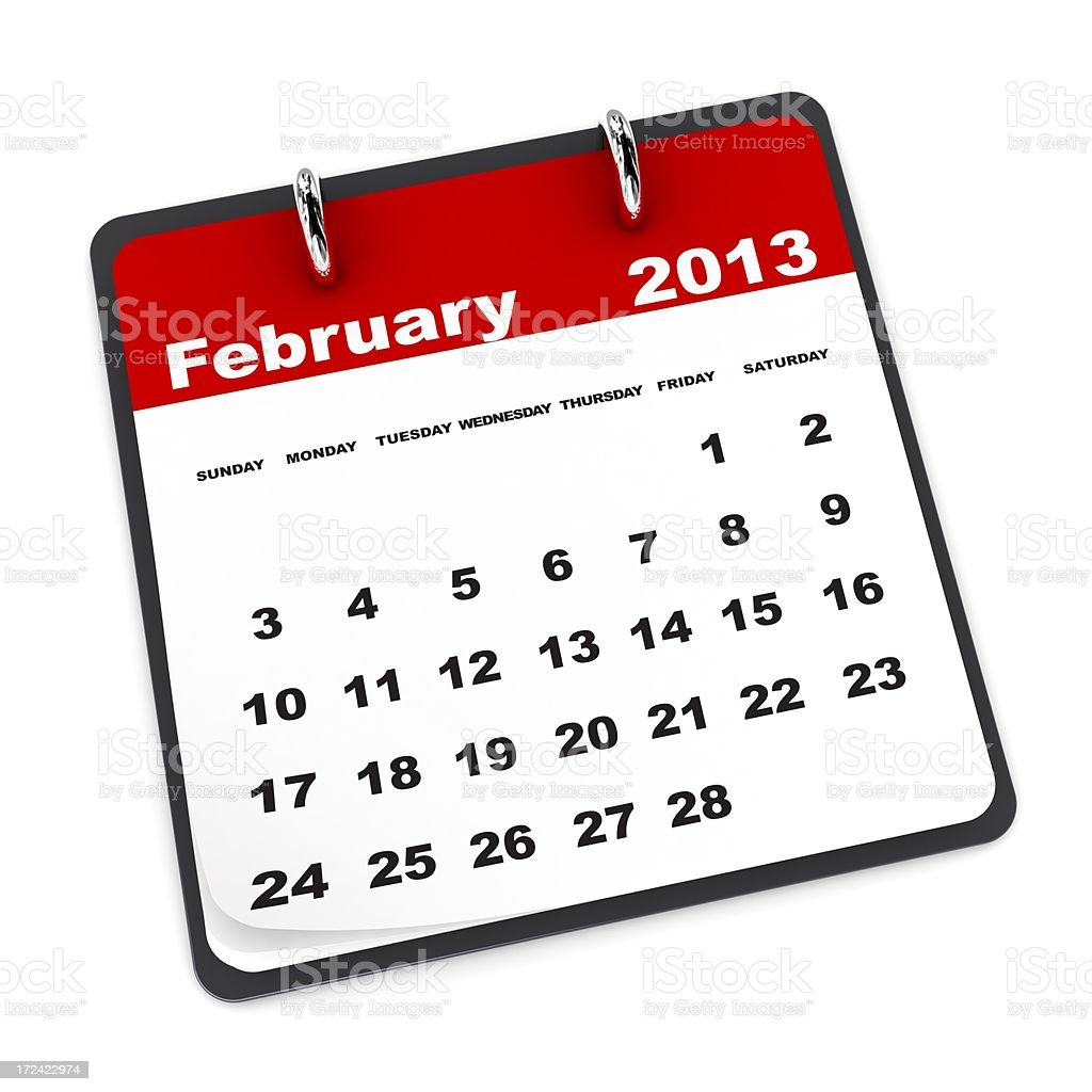February 2013 - Calendar series royalty-free stock photo