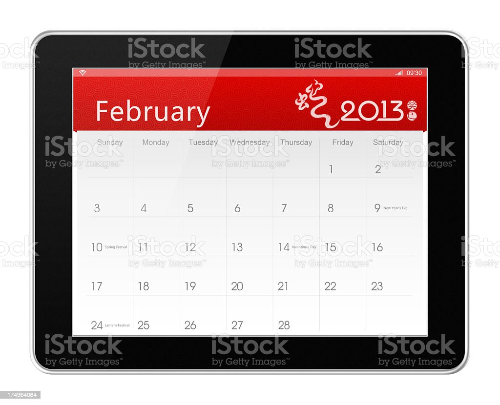 February 2013 Calender on digital tablet royalty-free stock photo