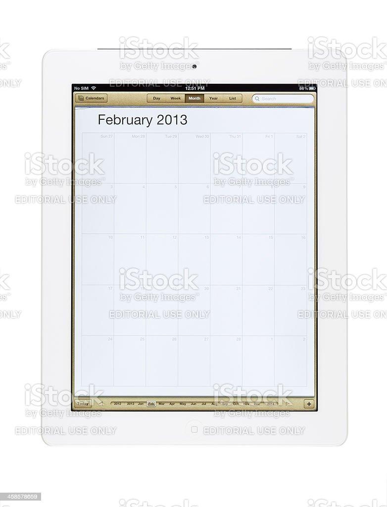 February 2013 Calender on New Ipad royalty-free stock photo