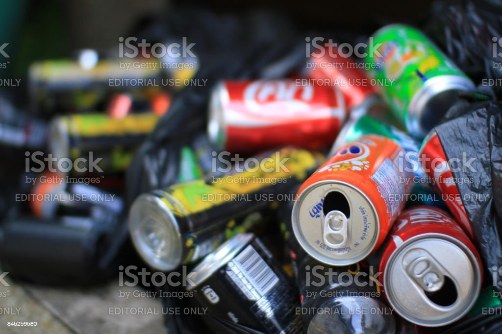 13 February 2013 Colorful aluminum cans in garbage prepare for crushed recycling facility , chiangrai province ,thailand stock photo
