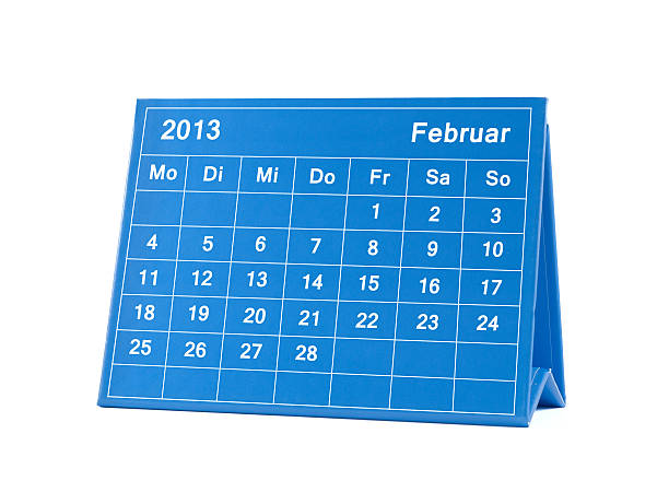Februar 2013 german Calendar -Montag-Sonntag Februar/ February - Calendar in German style - week starting with Monday. Paper structure visible on cardboard. All month available 2013 stock pictures, royalty-free photos & images
