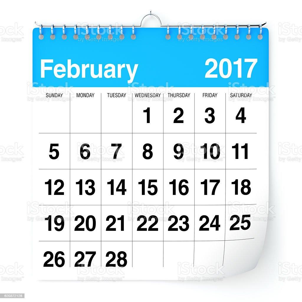 Calendário de Fevereiro de 2017 foto de stock royalty-free