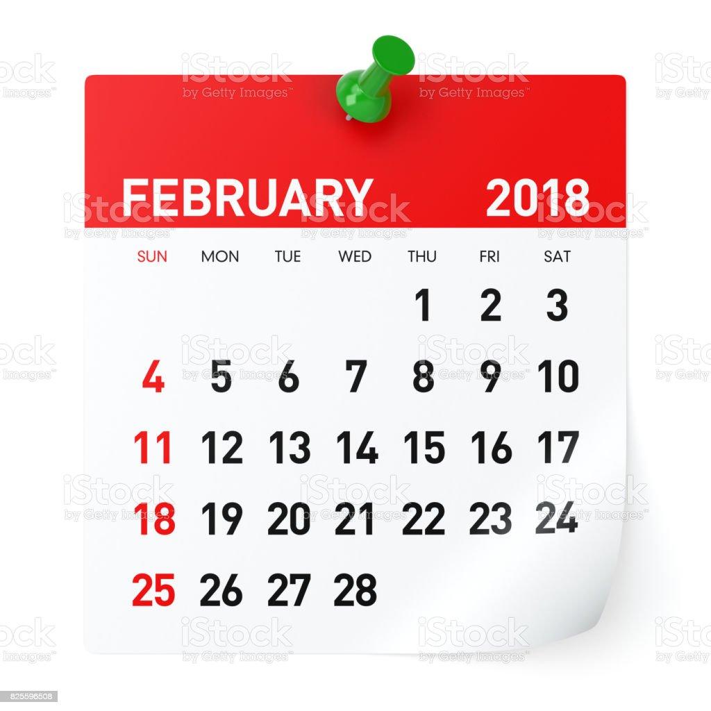 February 2018 - Calendar stock photo
