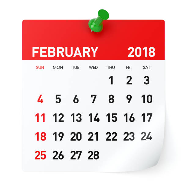 february 2018 - calendar - february stock photos and pictures