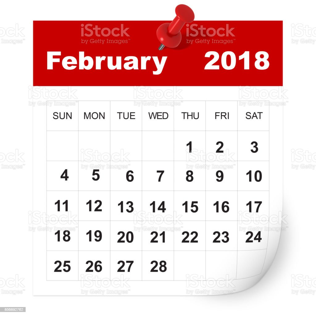 February 2018 calendar stock photo