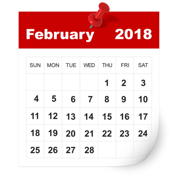 february 2018 calendar - february stock photos and pictures