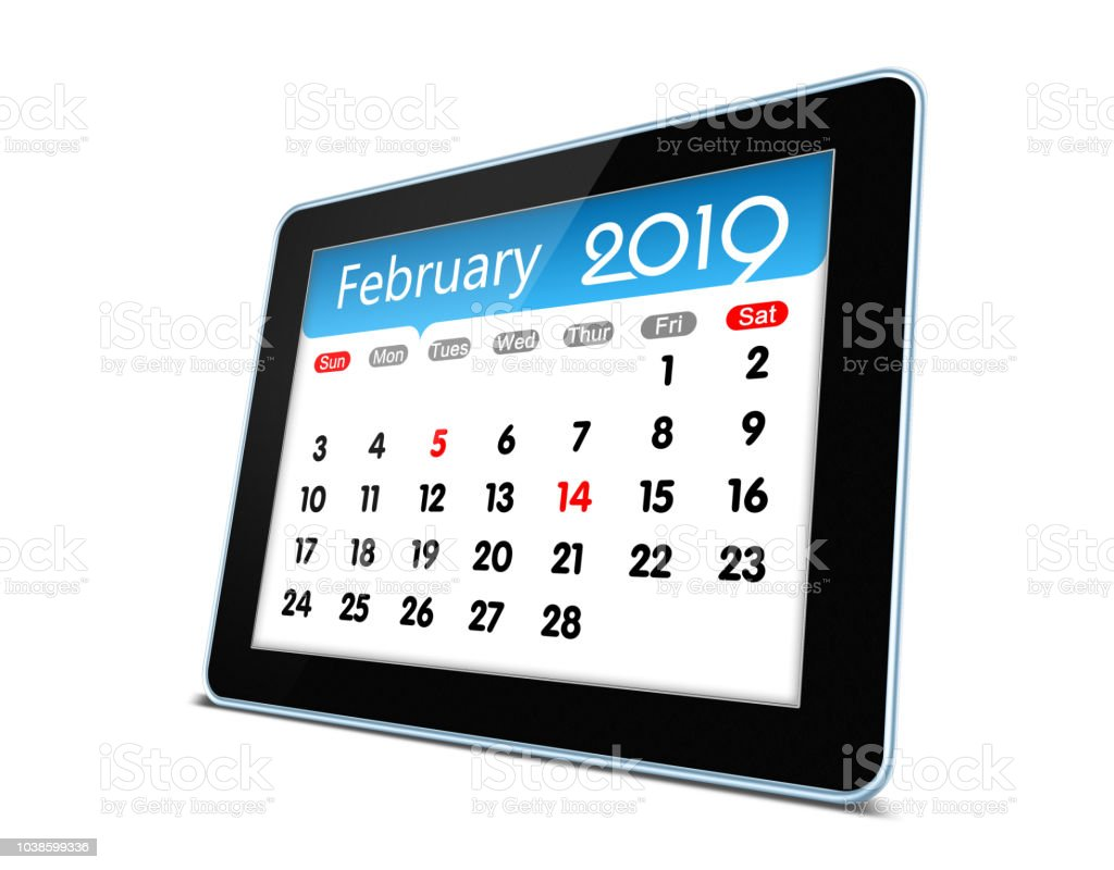 Electronic February 2019 Calendar February 2019 Calendar On Digital Tablet Isolated Stock Photo