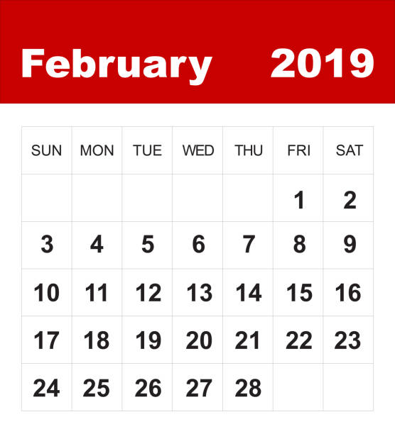 february 2019 calendar - february stock photos and pictures