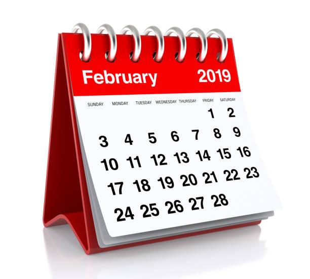 calendrier février 2019. - calendrier digital journée photos et images de collection