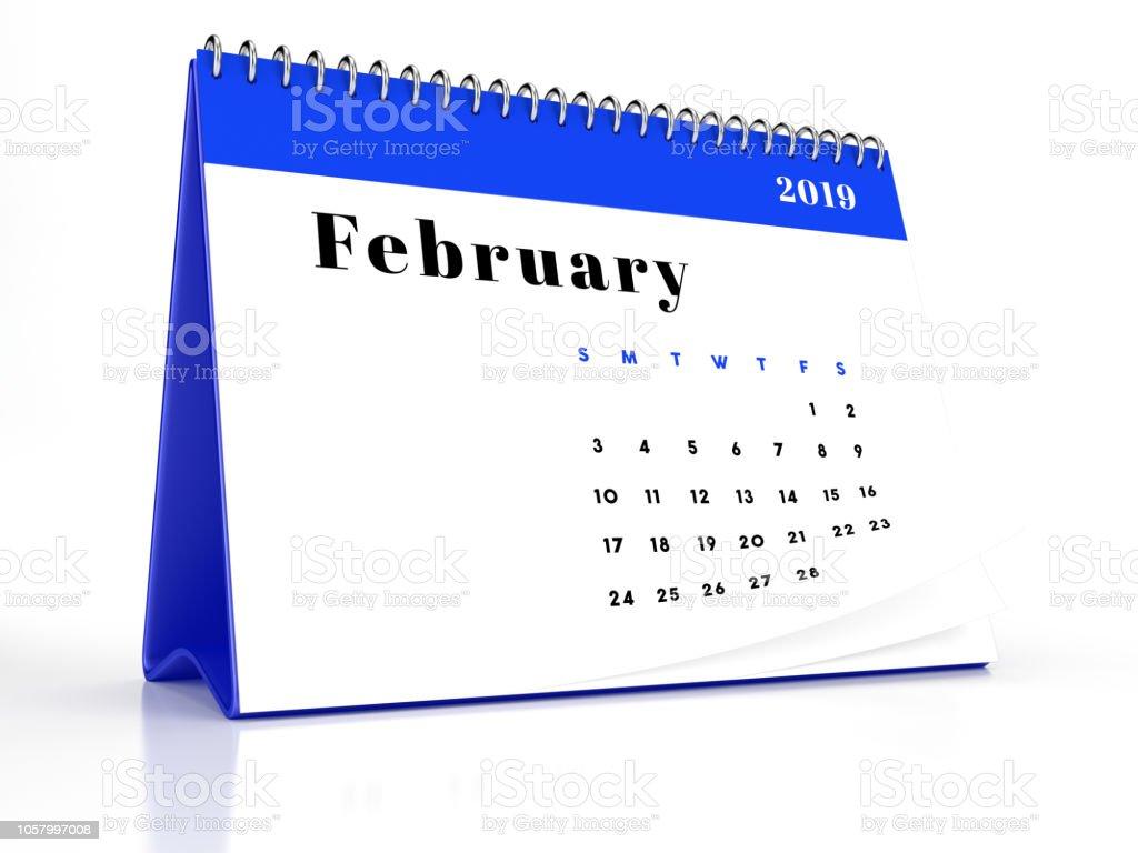 General Blue Calendar February 2019 February 2019 Desktop Calendar On White Background Stock Photo