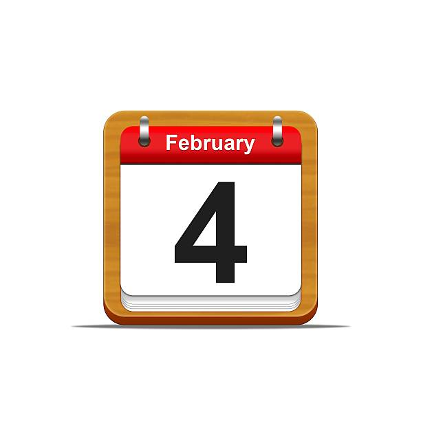 February 4. Illustration elegant wooden calendar on white background. day 4 stock pictures, royalty-free photos & images