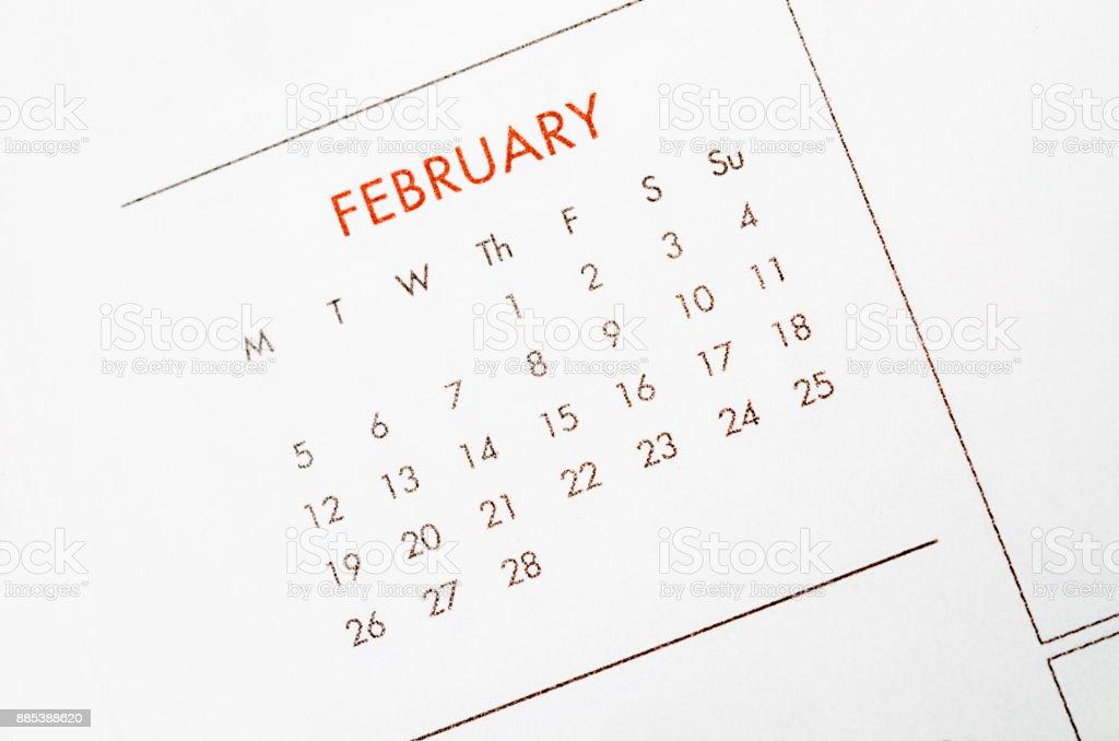 February calendar page. stock photo