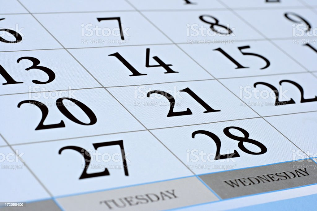 A February calendar with large numbers for each day stock photo