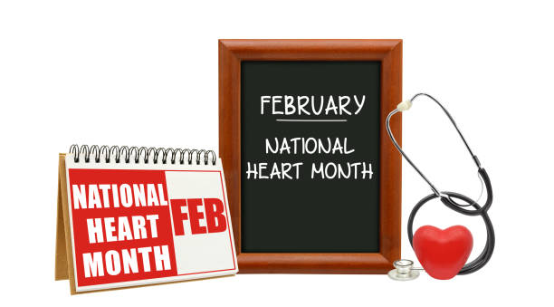 February National Heart Month February National Heart Month calendar blackboard with red heart, stethoscope white background month stock pictures, royalty-free photos & images