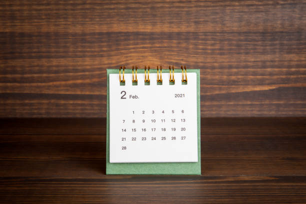 2021 February. Time planning, business, day counting and holidays stock photo