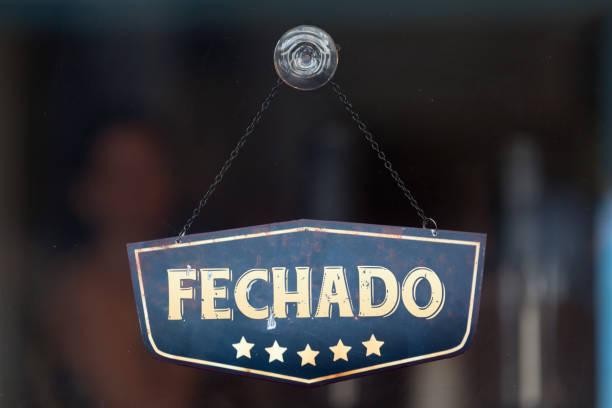 Fechado - Closed sign stock photo
