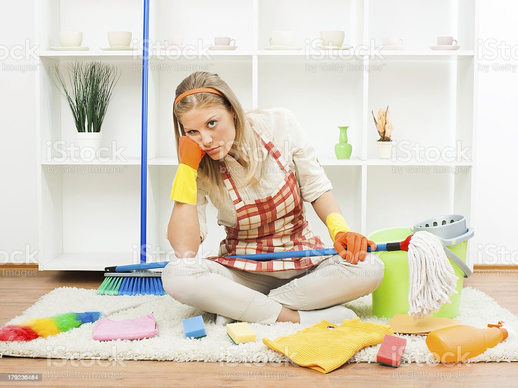 Fed up of cleaning stock photo