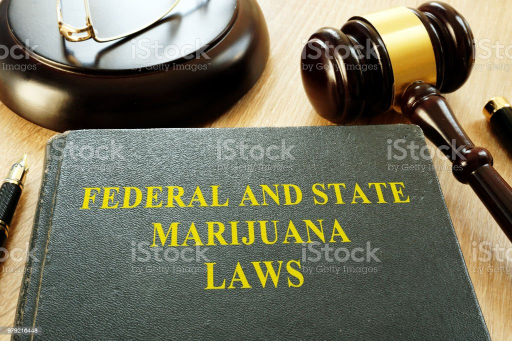 Federal and State Marijuana Laws and gavel in a court. stock photo