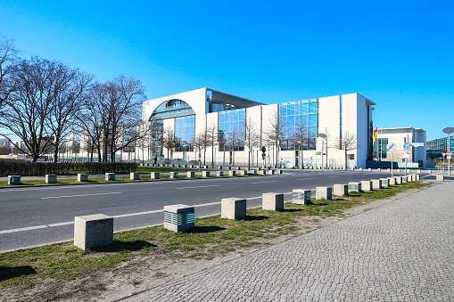 Federal Chancellery in Berlin during coronavirus shutdown in Germany