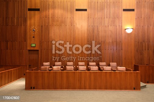 United States Federal court jury box.
