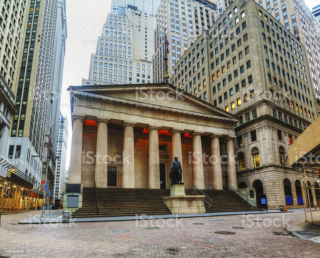 Federal Hall National Memorial on Wall Street in New York stock photo