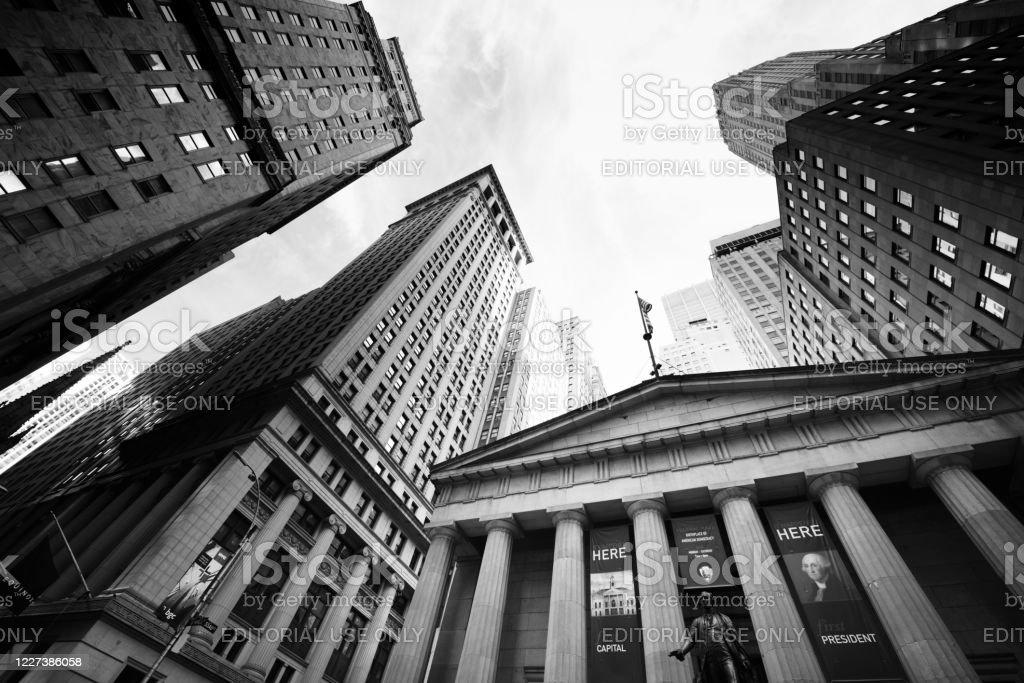 Federal Hall, Wall Street, NYC. - Lizenzfrei Architektonische Säule Stock-Foto