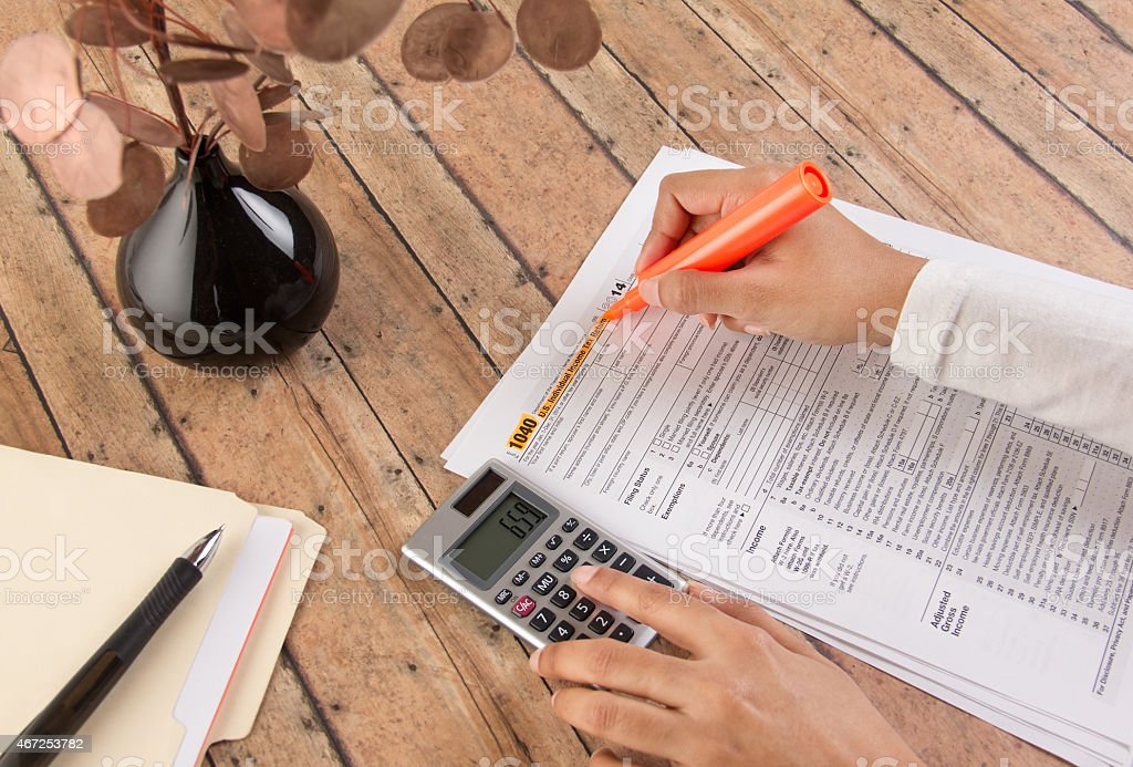 Federal income tax - form 1040 stock photo