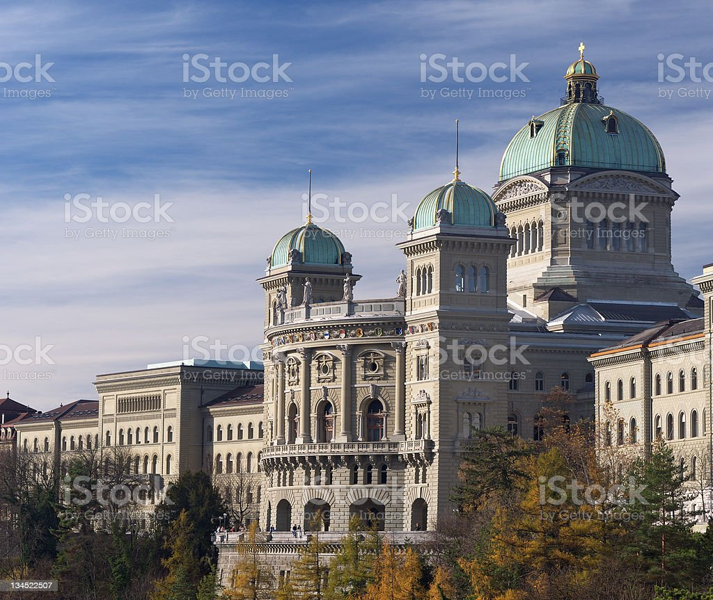 Federal palace of Switzerland side view in autumn stock photo