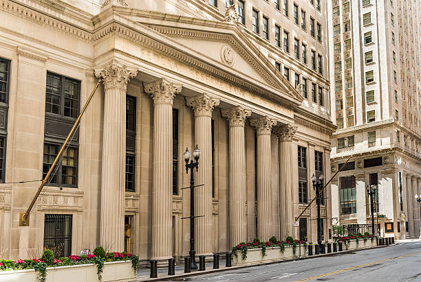 Federal Reserve Bank building on La Salle street with columns stock photo
